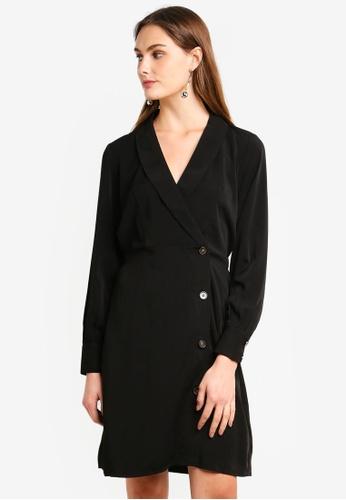 Vero Moda black Pearl Button Long Sleeve Short Dress FE103AAD5C4277GS_1