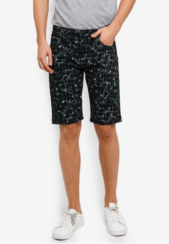 Fidelio black and multi Micro-printed Casual Chino Shorts B479AAA201D06BGS_1