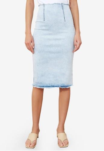 Trendyol blue Frayed Hem Denim Skirt 7DB17AAEC0811BGS_1
