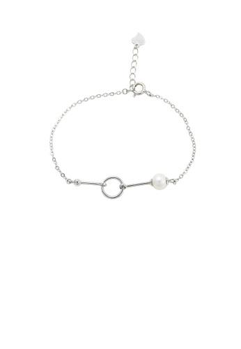 Glamorousky white 925 Sterling Silver Simple Fashion Geometric Circle Freshwater Pearl Bracelet DE327ACBC404BBGS_1