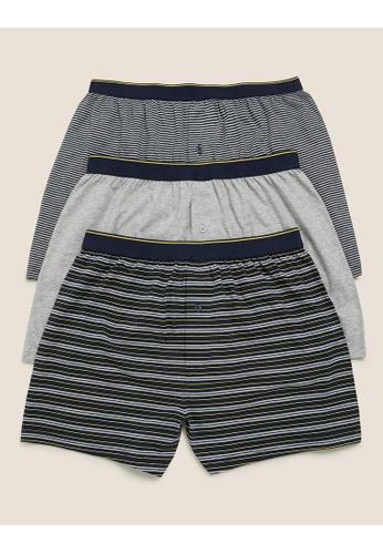 MARKS & SPENCER blue M&S 3pk Pure Cotton Striped Jersey Boxers E541FUSAEB1620GS_1