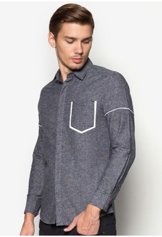 XM-Framed Pocket Long Sleeve Shirt With Piping