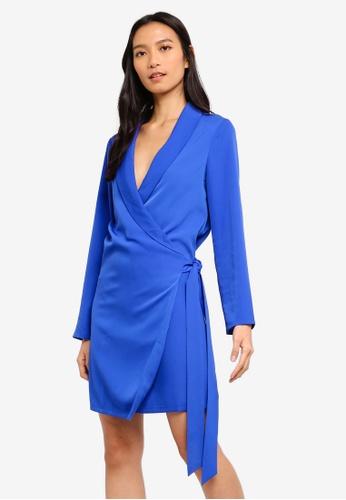 ZALORA blue Roll Neck Overlap Dress A4315AA5DB8E62GS_1