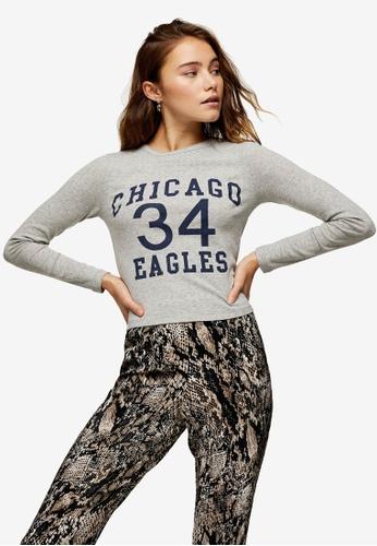 TOPSHOP grey Grey Marl Chicago Eagles Long Sleeve Top B614AAAF97F8B9GS_1