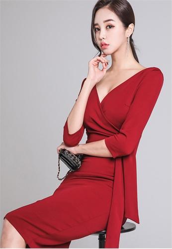 c3f75143181 Buy Crystal Korea Fashion New V-neck High Waist Slim Red Dress Online on  ZALORA Singapore