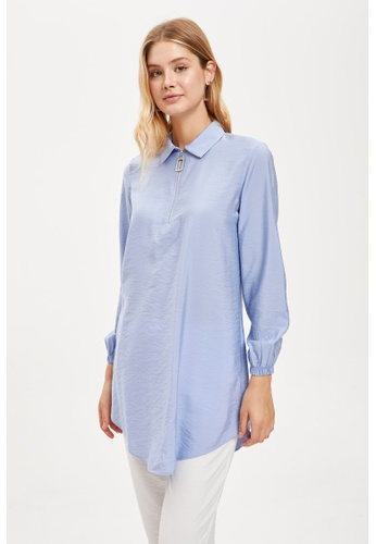 DeFacto blue Woman Long Sleeve Woven Tunic AC20AAAFB9EE80GS_1
