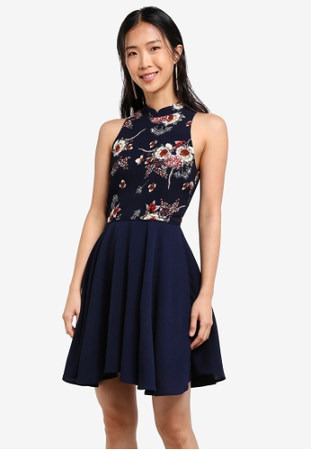 ZALORA blue and navy Printed Mandarin Collar Fit & Flare Dress With Trimmings 3F6B7AAC1458C5GS_1
