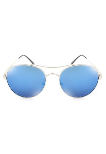 Maldives Eyewear blue and silver Philip Metal Round Classic Aviator Sunglasses 8005-Y MA573GL64NTVPH_1