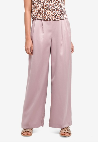 TOPSHOP pink Full Length Sasha Wide Leg Pants 95BA9AACDD9BDEGS_1