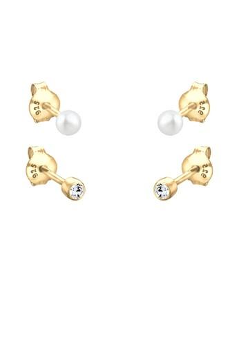 施華洛世奇水晶珍珠 925 銀鍍金耳環zalora 泳衣, 飾品配件, 耳釘