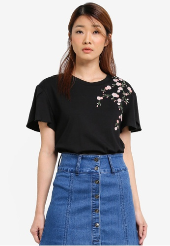 Something Borrowed black Embroidered Wrap Sleeve Tee 83E6AAA0DF0EEAGS_1