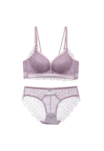 Midnight 紫色 Premium Lace Purple Lingerie Set (Bra and Underwear) D3207US848AE64GS_1