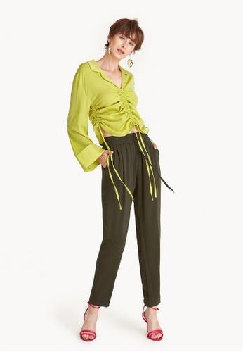 Pomelo green Matte Satin Drawstring Joggers - Olive 83E8EAA8753B03GS_1