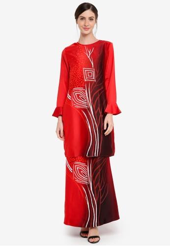 Gene Martino red Kurung Modern Batik Abstrack 199D2AA1CB4A03GS_1
