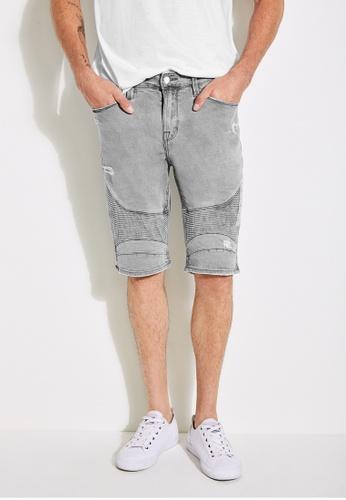 Guess grey Slim-Fit Distressed Moto Shorts F274CAA7A0D4A4GS_1