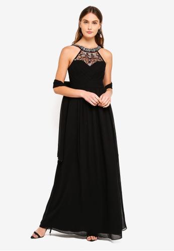 Goddiva black Embellished Chiffon Maxi Dress With Scarf DBCD4AAA4ABC41GS_1