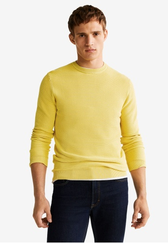 Mango Man 黃色 Structured Cotton Sweater A2D5DAA327816BGS_1