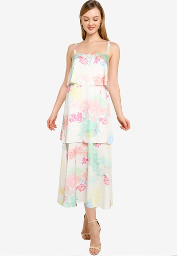 Dorothy Perkins white Ivory Tropical Print Sleeveless Satin Tiered Midi Dress CD320AAA8A454AGS_1