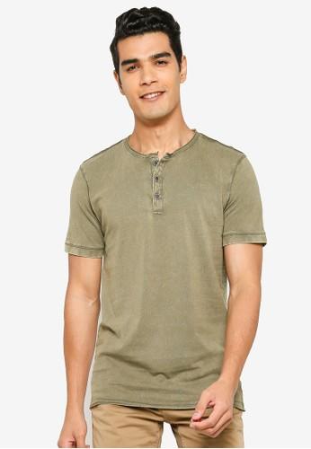 !Solid green Pierre Henley T-Shirt A649CAAFEA50A3GS_1