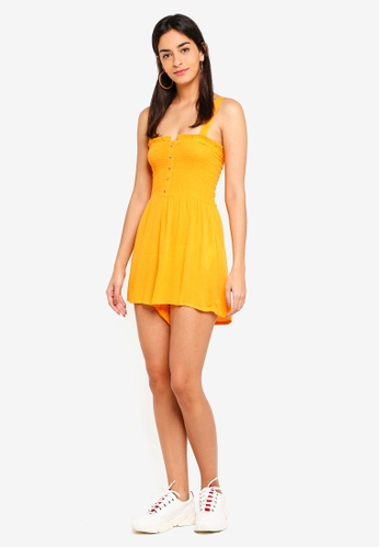 771585d64a Shop Supre Hazel Shirred Button Front Playsuit Online on ZALORA Philippines