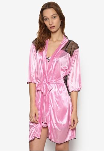 撞色滾邊外套睡裙丁字褲性感esprit outlet 香港睡衣組, 服飾, 睡衣套裝