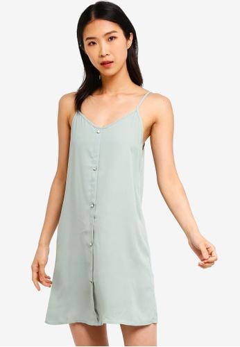 ZALORA BASICS green Basic Strappy Button Down Dress BD37EAABD567F0GS_1