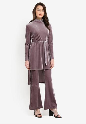 Zalia purple Velvet Step Hem Top 162E5AA2251807GS_1
