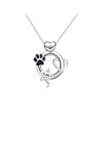 Glamorousky silver 925 Sterling Silver Fashion Simple Dog Paw Heart-shaped Star Pendant with Necklace 18C46ACACFD09DGS_1