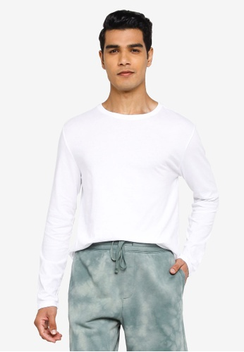 GAP white Everyday Crew Long Sleeve T-Shirt 7A477AAE49ACE3GS_1