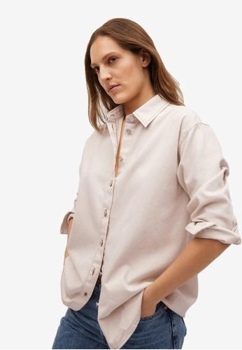 Mango beige Contrasting Seams Cotton Shirt 315BAAA1208F6AGS_1