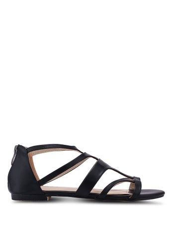 ZALORA 黑色 Gladiator Sandals 4B0B5SHEB68167GS_1