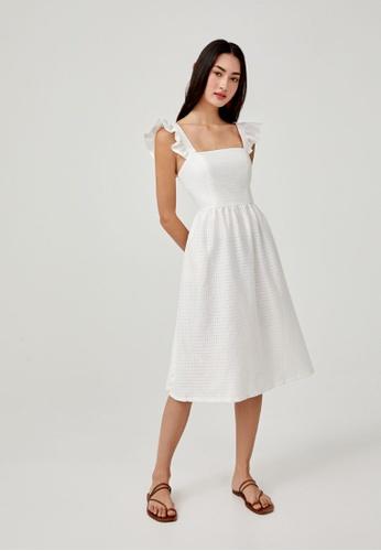 Love, Bonito white Alibeth Ruffle Sleeve Midi Dress 35731AA8718C99GS_1