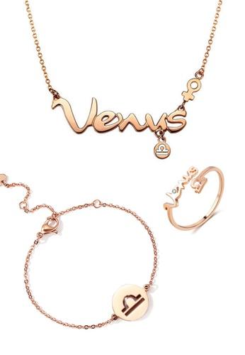 CELOVIS gold CELOVIS - Horoscope Libra God of Protection Necklace + Bracelet + Ring Set 05D62AC7B44892GS_1