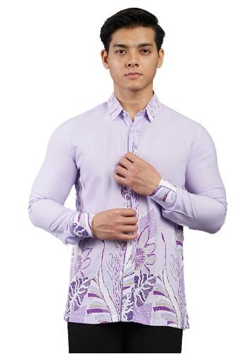 UA BOUTIQUE purple Long Sleeve Shirt Batik UABM27-111 (Purple) 4C949AA024C949GS_1