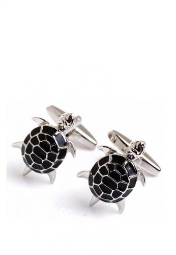 Kings Collection black Enamel Tortoise Mens Metal cufflinks CF7D7AC3D4F901GS_1