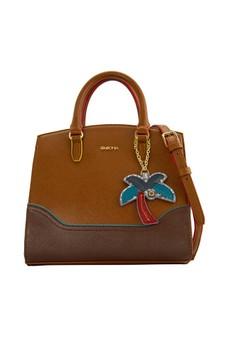 SEMBONIA  SEMBONIA Synthetic Leather Satchel Bag (Brown)