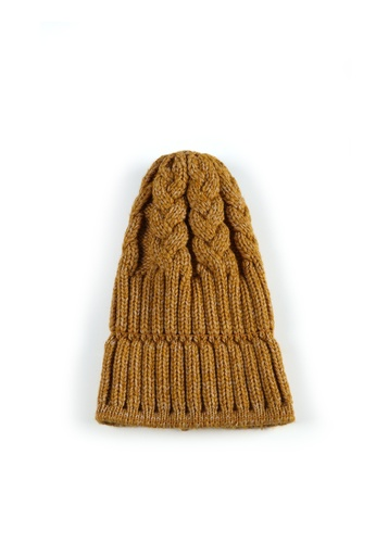 London Rag yellow Cable Knit Beanie 85A0BAC8C257AEGS_1