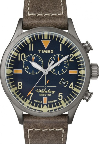 TIMEX brown Timex The Waterbury Chronograph with Gunmetal Case and Leather Strap TI857AC47NRWSG_1