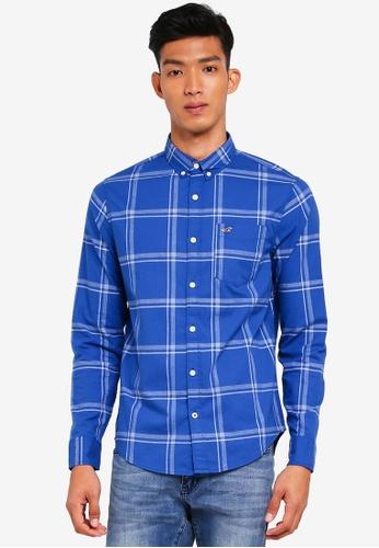 Hollister 藍色 長袖格紋襯衫 3E0E7AAEE8B4C9GS_1