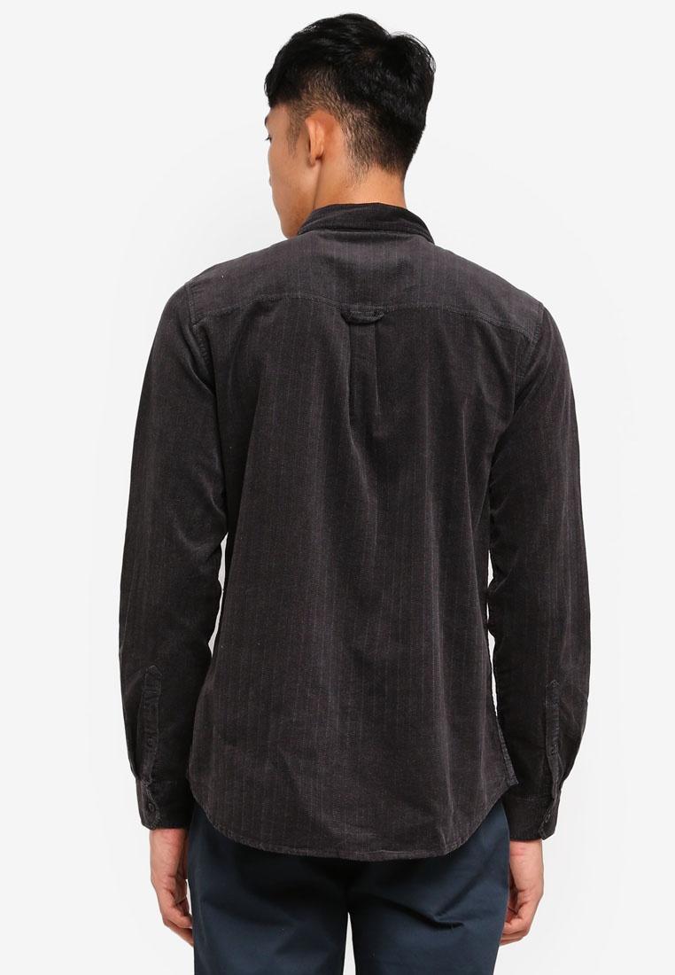 Vintage Black Cotton Herringbone Shirt Cord On H6gxrHIq