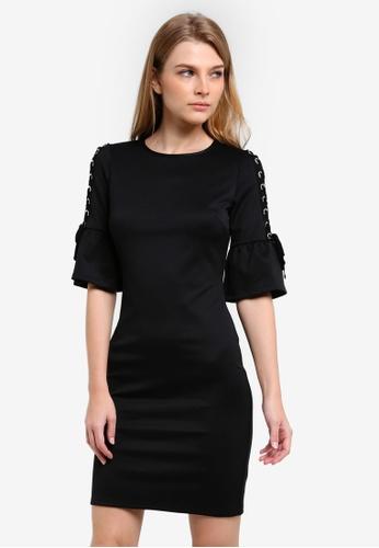 Dorothy Perkins black Eyelet Sleeve Pencil Dress DO816AA0RV3DMY_1