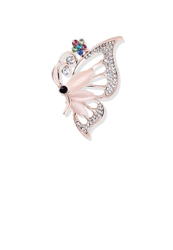Glamorousky white Fashion and Elegant Plated Rose Gold Butterfly Opal Brooch with Cubic Zirconia 79662AC73A8CABGS_1