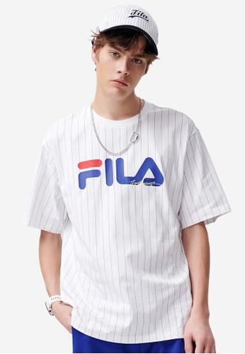 FILA blue FUSION FILA Logo Vertical Striped Cotton T-shirt A397AAAAB06EEAGS_1