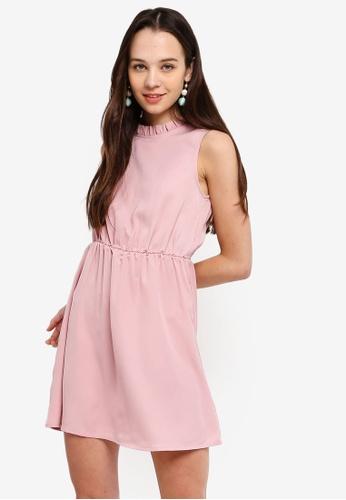 Something Borrowed 粉紅色 Ruffled Trim High Neck Dress 1E655AAB3CF4A4GS_1