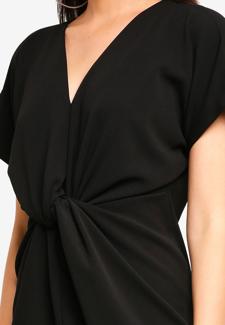 Knot Dress MISSGUIDED Black Front Knot Front qwqSBRF