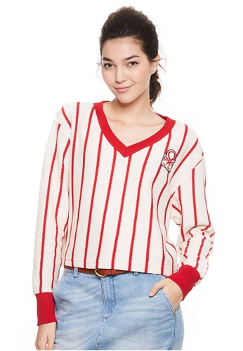 United Colors of Benetton white V-neck Striped Sweater 61EFFAAA93C628GS_1