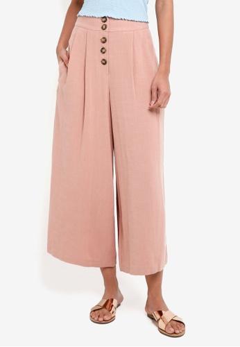 TOPSHOP beige Horn Button Crop Wide Leg Trousers 0C810AA2485887GS_1
