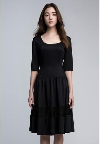 半袖落腰復esprit地址古連衣裙, 服飾, 及膝洋裝