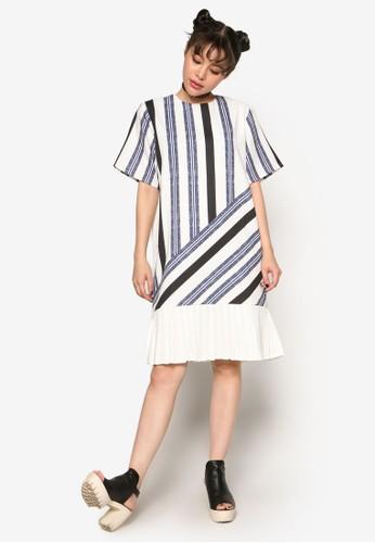 半zalora 包包評價色條紋連身裙, 服飾, 洋裝