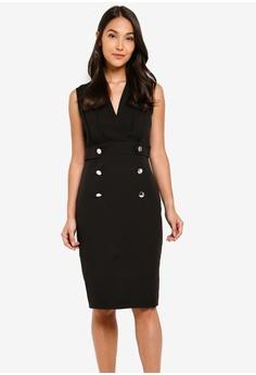00e070884ca ZALORA black Sleeveless Overlap Dress With Button Detail 67E73AAF15B506GS_1